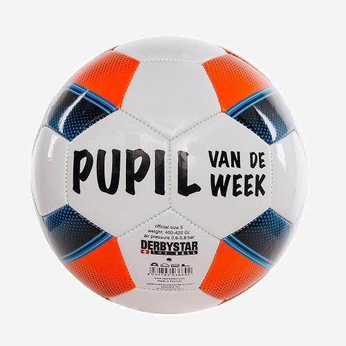 Afbeelding Derbystar Pupil van de Week bal wit blauw oranje