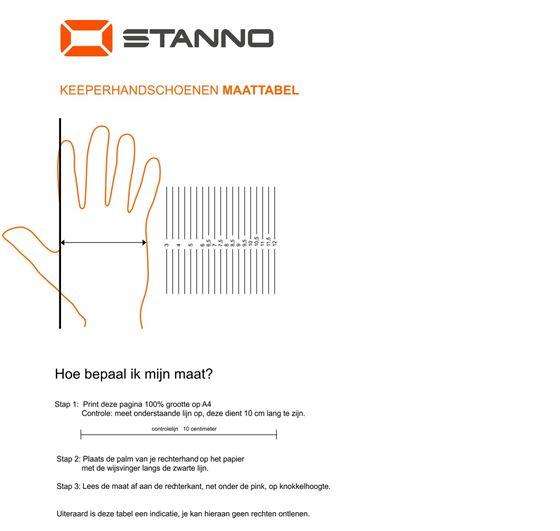 Afbeelding Maattabel keepershandschoenen Stanno