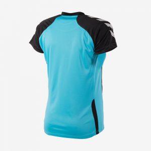 Hummel Aarhus shirt dames achterkant sportshirt aquablauw