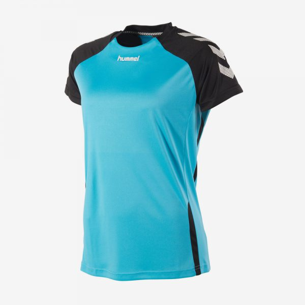 Hummel Aarhus shirt dames voorkant sportshirt aquablauw