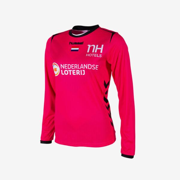 Afbeelding Hummel WK 2019 keepersshirt Nederlandse handbaldames lange mouw roze