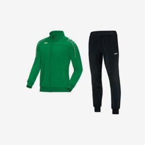 Afbeelding Jako trainingsjas groen en trainingsbroek zwart Witteveenseboys voorkant