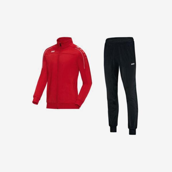 Afbeelding Jako trainingsjas rood en trainingsbroek zwart Witteveenseboys voorkant