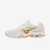 Afbeelding Mizuno Wave Phantom 2 dames handbalschoenen wit goud