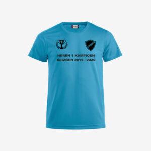 Afbeelding kampioen shirt voorzijde bedrukt blauw