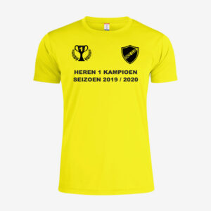 Afbeelding kampioen shirt voorzijde bedrukt geel