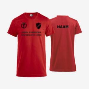 Afbeelding kampioen shirt voorzijde en achterzijde bedrukt rood