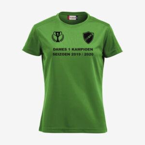 Afbeelding kampioen shirt voorzijde bedrukt groen