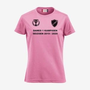 Afbeelding kampioen shirt voorzijde bedrukt roze