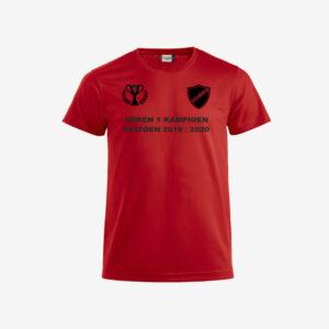 Afbeelding kampioen shirt voorzijde bedrukt rood
