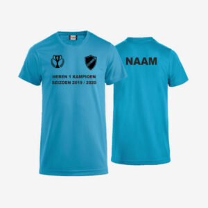 Afbeelding kampioen shirt voorzijde en achterzijde bedrukt blauw