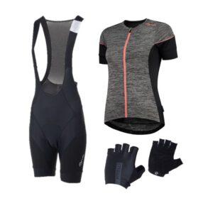 Afbeelding wielerset shirt Charm, broek Essential en handschoenen Dolce