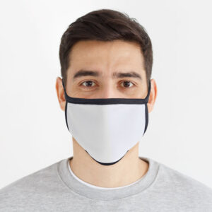 Afbeelding man mondkapje mondmasker wit