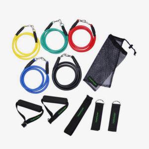 Afbeelding tunturi elastiek set weerstandsbanden fitness diverse kleuren
