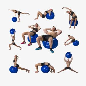 Afbeelding oefeningen met de Tunturi fitnessbal gymbal 65 cm grijs