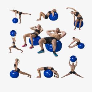 Afbeelding oefeningen met de Tunturi fitnessbal gymbal 75cm zwart